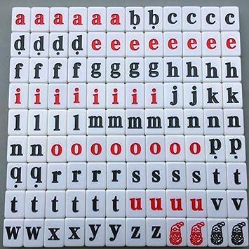 DUOER home-Mah Jong 108 Unids Alfabeto Scrabble Azulejos Letras Números Juguete Educativo para Niños (Color : Lower Case Letters) : Amazon.es: Juguetes y juegos