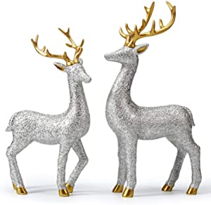 HAUCOZE 2pcs Statue Figurine Lovers Deer Sculpture Reindeer Decor Animal for Home Gifts Souvenirs Giftbox Polyresin Silver 30cmH
