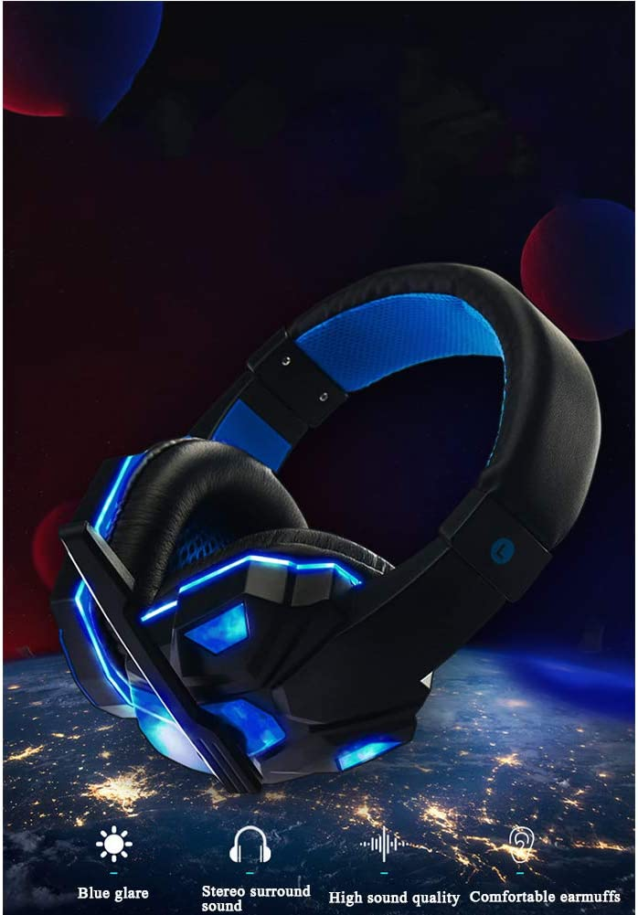 Rotatable Noise Reduction Microphone and Volume Control,White 3.5 mm Surround Sound Wired E-Sports Headset with LED Light YCKZZR PC Gaming Headset