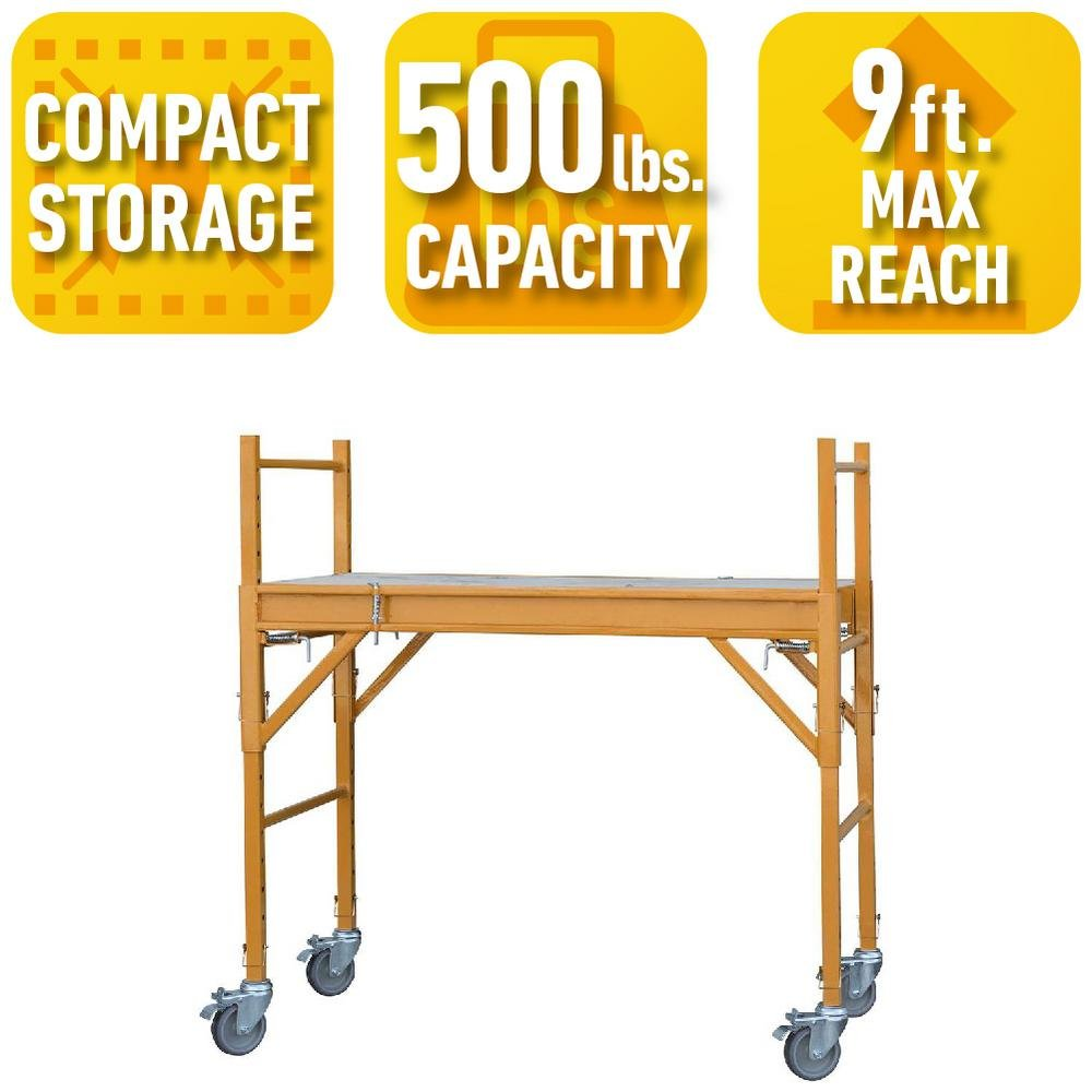 PRO-SERIES 4 ft. x 2 ft. x 4 ft. Mini Multi-Use Drywall Baker Scaffold with 500 lb. Load Capacity