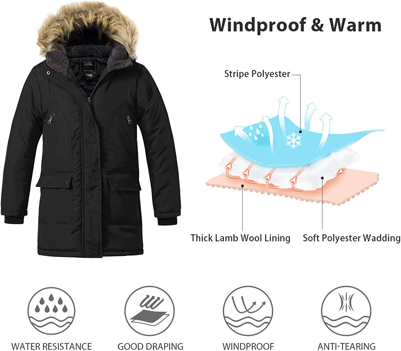 ZSHOW Girls and Boys Winter Warm Coat Padded Puffer Jacket