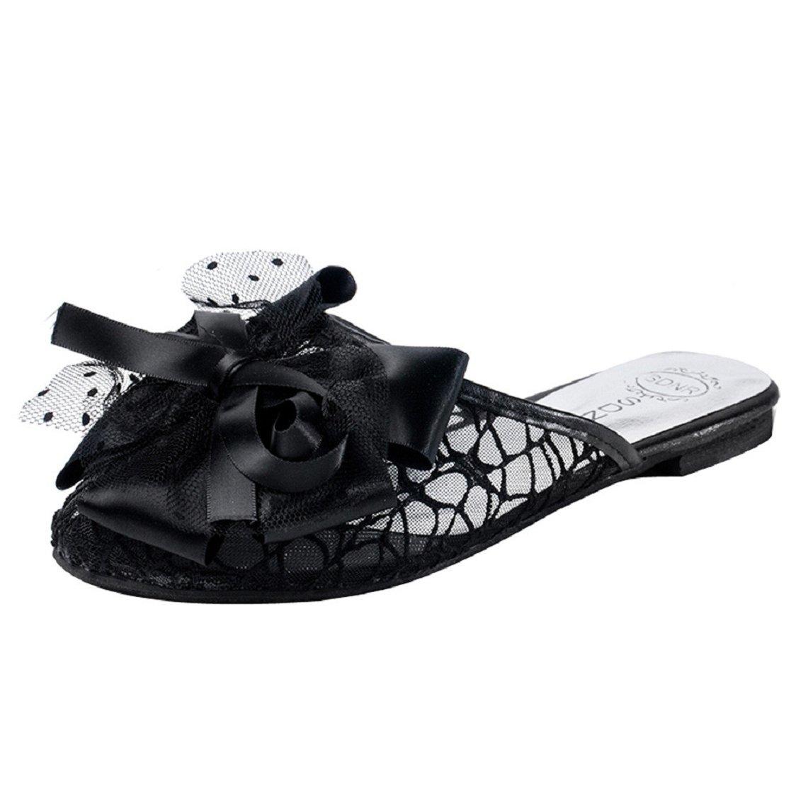 737f33bd6c7 Amazon.com  Sunfei Women Summer Beach Slippers Flat Heels Flip Flops  Bohemia Lace Bow Sandals  Clothing