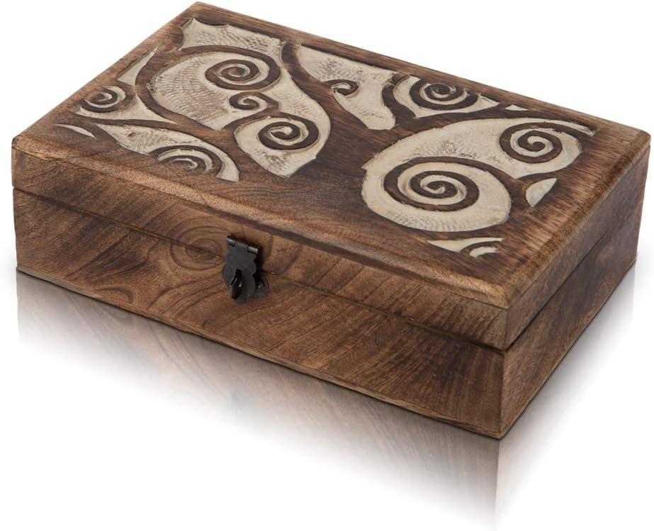 Bo/îte /à bijoux d/écorative faite /à la main en bois avec motif arbre de vie sculpture et serrure et cl/és 20,3 x 12,7 cm Bo/îte de rangement /à bijoux Bo/îte /à souvenirs