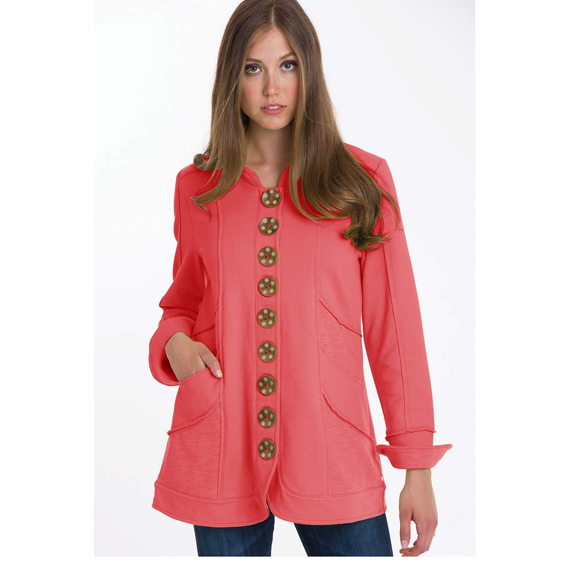 Neon Buddha Womens Cotton Blazer Female Long Sleeve Jacket with Exposed Seams and Oversized Buttons