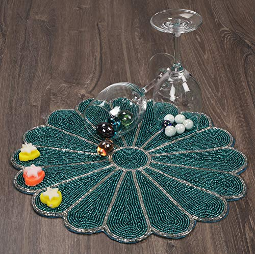 Farmhouse Beaded Placemats for Dining Table - Pack of 1 measure 13 inches Beaded Placemats round for Gathering, Occasional decoration and Family Parties Celebrations in Silver/Teal Colour (Round Placemats Teal)