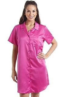 6e37c97ea6f092 Damen Luxus-Nachthemd aus Satin - Knielang mit Knöpfen - Rosa - Größen