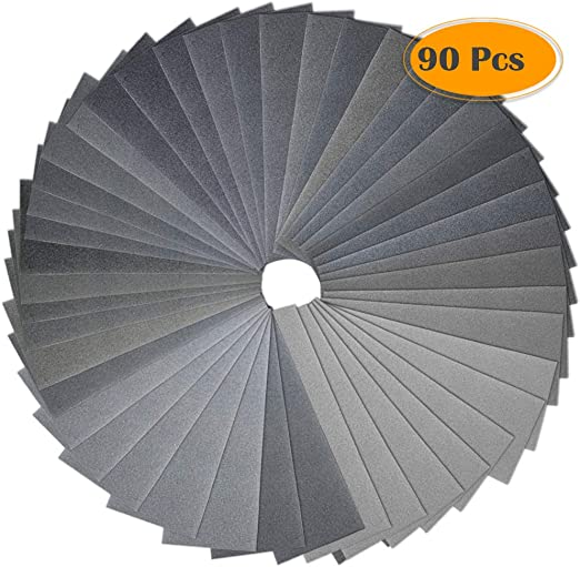 Anezus 90Pieces Sandpaper Assortment 400 to 3000 5000 7000 Grit Wet Dry Fine