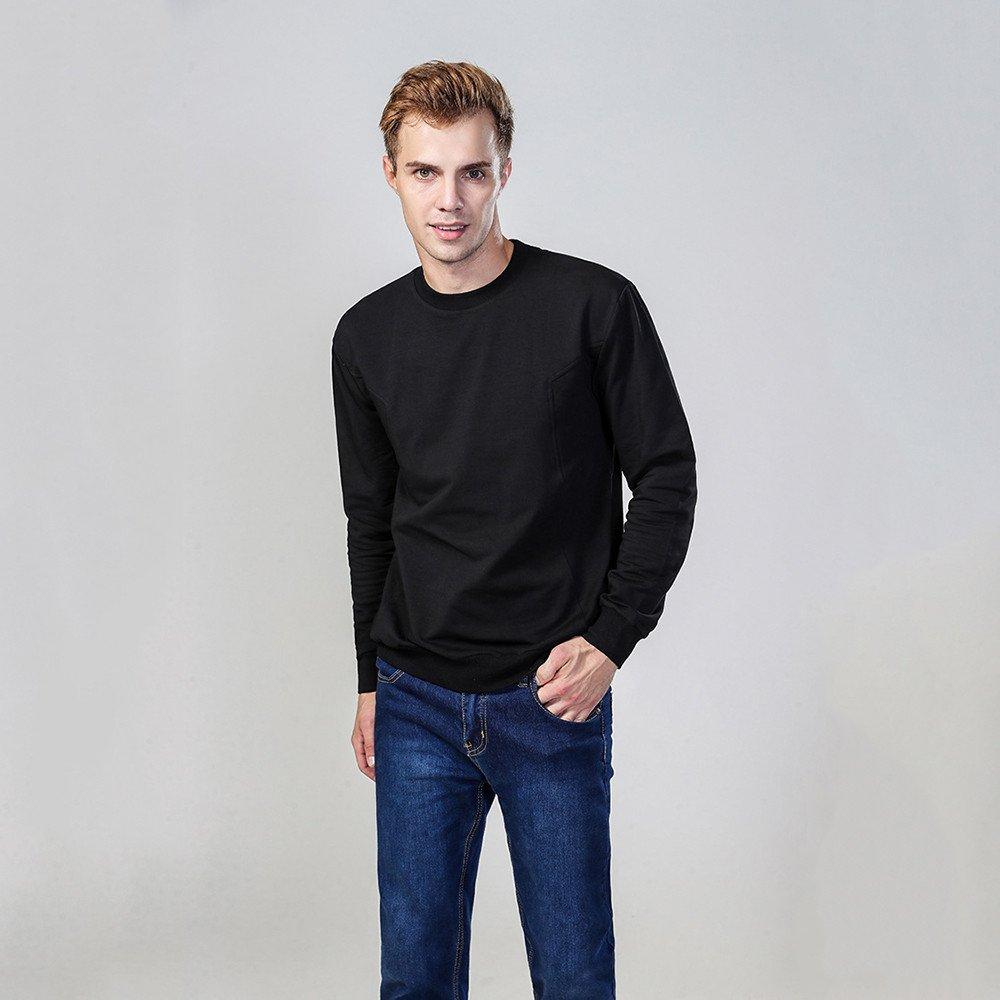 Lisux Hals langärmelige Pullover und EIN Baumwoll - t - Shirt und langärmelige Pullover,schwarz,2XL