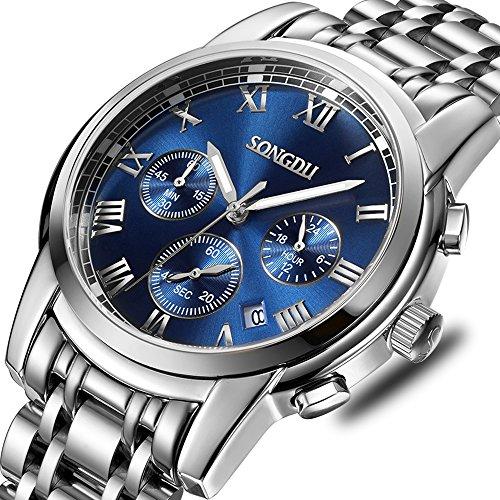 SONGDU Mens Quartz Unisex Wrist Watch Silver Stainless Steel Band Dress Analog, Chronograph Classic Design Calendar Date Window - Blue Dial Luminous ()