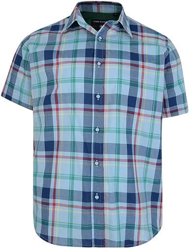 Kam Mens Short Sleeve Cotton Shirt Checked Big /& Tall King Size
