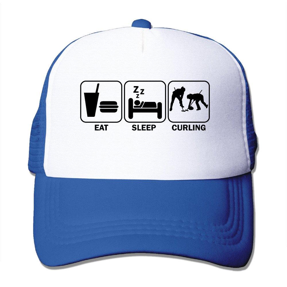 Eat Sleep Curling Mesh Trucker Hat