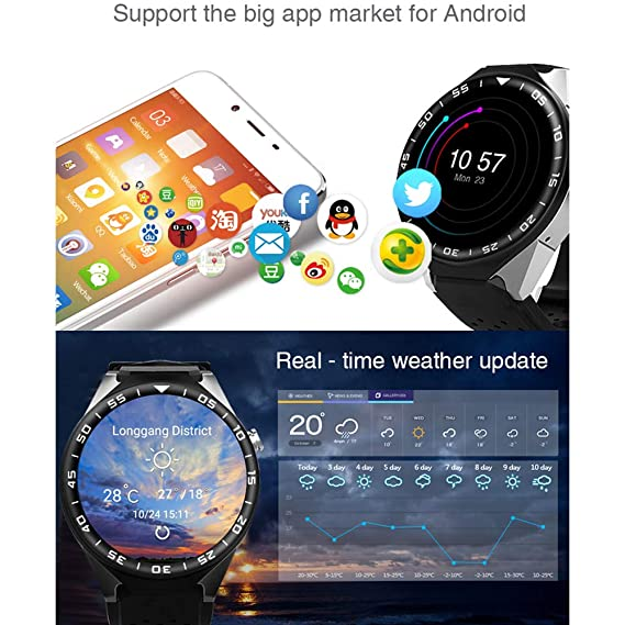 T9 Android 5.1 Bluetooth Smart Watch 3G WIFI GPS tarjeta SIM ritmo cardíaco reloj inteligente con cámara de 2.0 MP 1 GB 16 GB VS KW88: Amazon.es: ...
