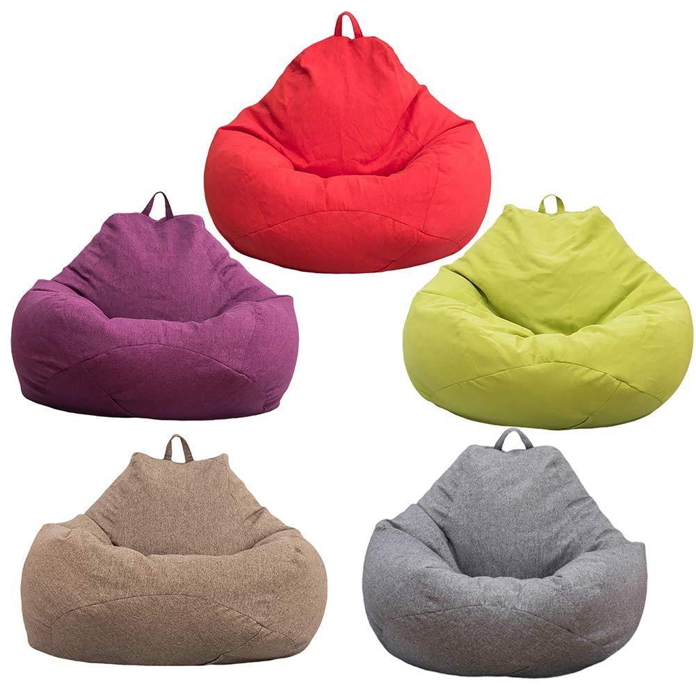 Deeabo Fodera per Sedia A Sacco Grande Senza Riempimento Lazy Lounger Bean Bag Storage Chair Cover Copertura per Lettino Pigro dal Design Semplice in Tinta Unita per Adulti E Bambini