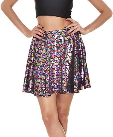 hibote Falda básica de Mujer Falda Casual Mini Escamas de Pescado ...
