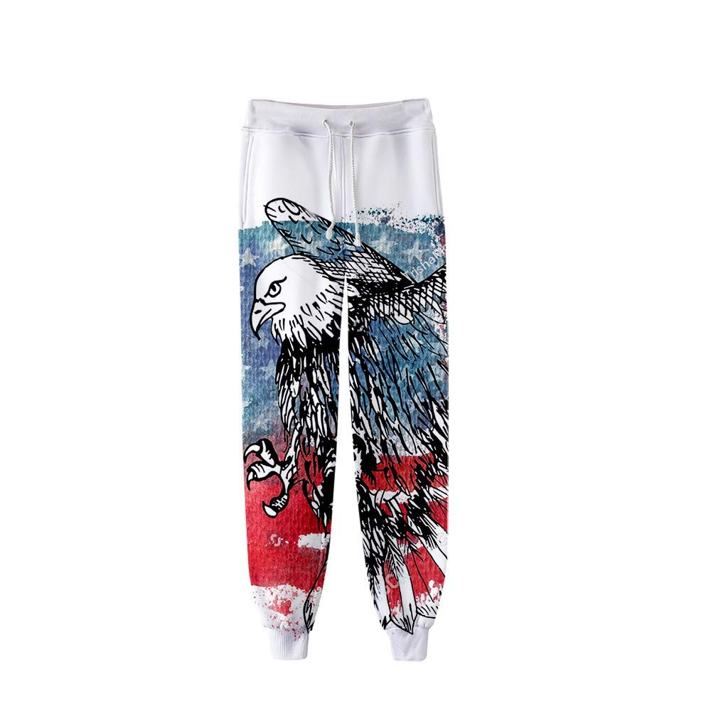 Men Women 3D Casual Active Sports Joggers Pants Trousers Sweatpants Eagle Printed Casual Loose Drawstring Sweatpants for July 4th