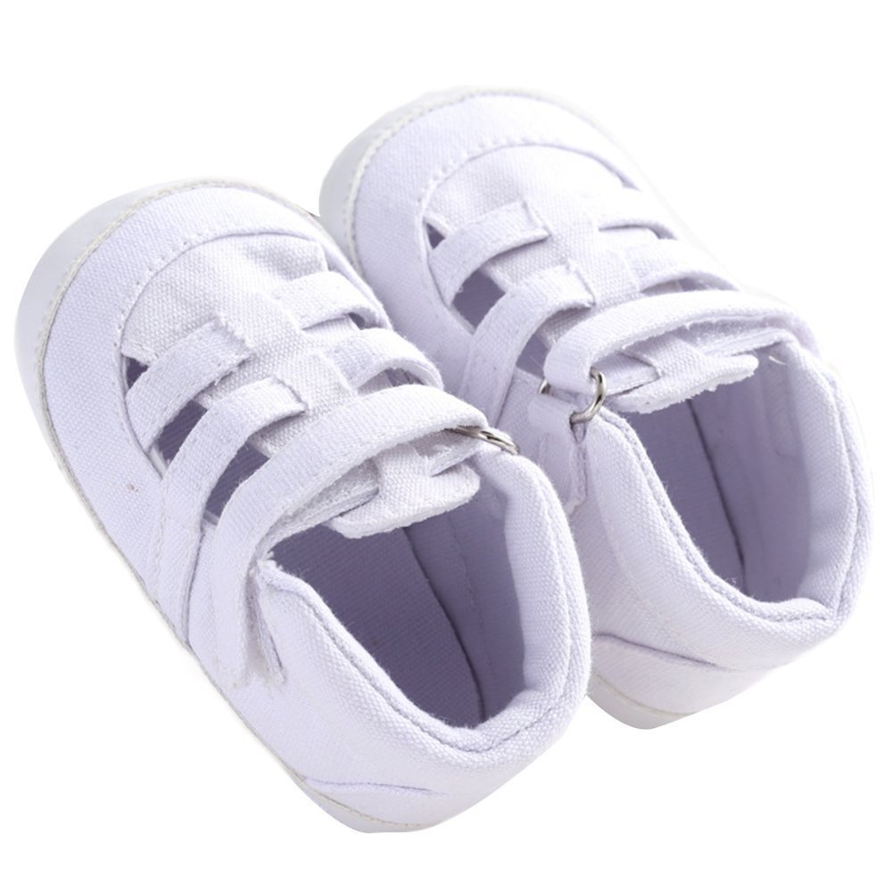 WAZZIT Unisex Baby Prewalker Summer Canvas Soft Sole Non-slip Baby Shoes White