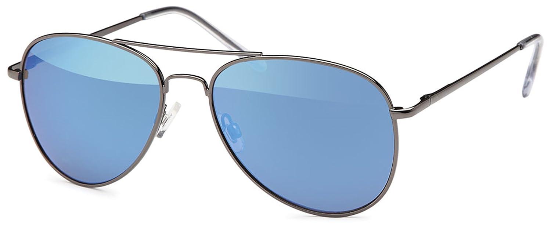 Unisex Edelstahl Pilotenbrille mit Polycarbonatgläser UV400 Filter- Im Set mit Brillenbeutel (Grün verspiegelt) 23wMkM