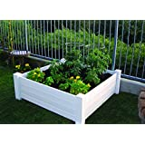 NuVue Products Raised 48 by 48 by 15.5-Inch Garden Box Kit, Extra Tall, White