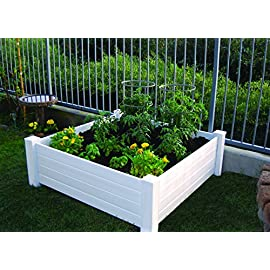 NuVue Products Raised 48 by 48 by 15-Inch Garden Box Kit, Extra Tall, White 14 No tools required! Easy to assemble snap lock system Made of HD vinyl and will not rust or rot