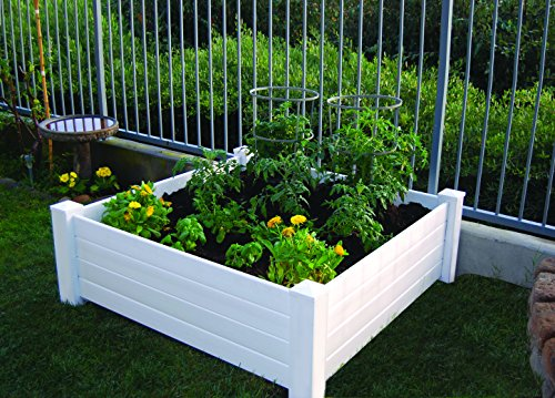 NuVue Products Raised 48 by 48 by 15-Inch Garden Box Kit, Extra Tall, White (Soil Garden Bed Raised)