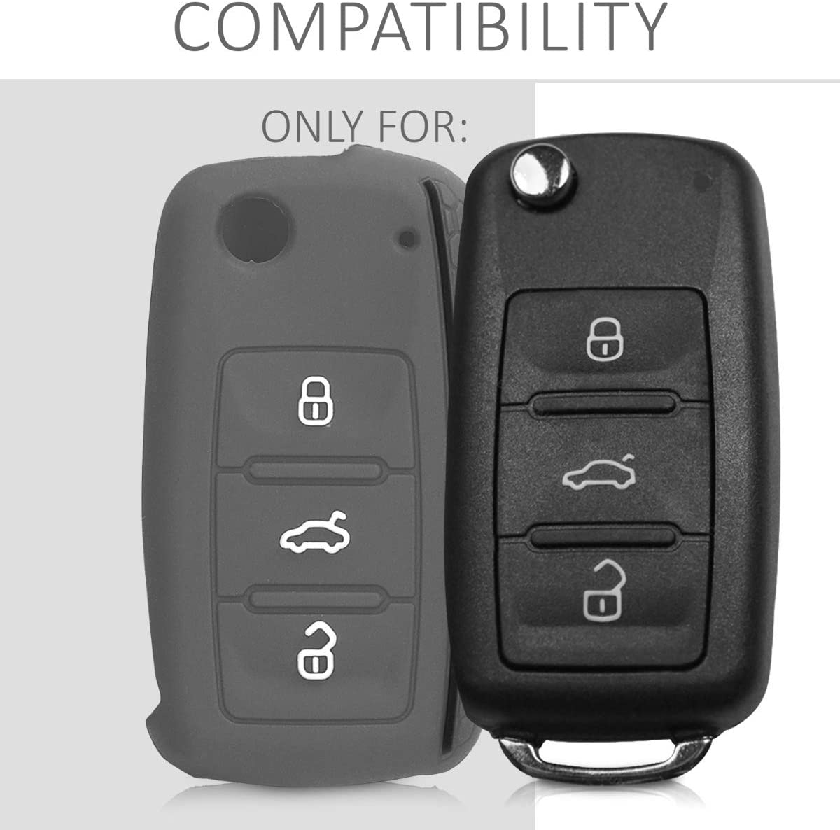 Light Grey//Black kwmobile Car Key Cover for VW Skoda Seat Silicone Protective Key Fob Cover for VW Skoda SEAT 3 Button Car Key