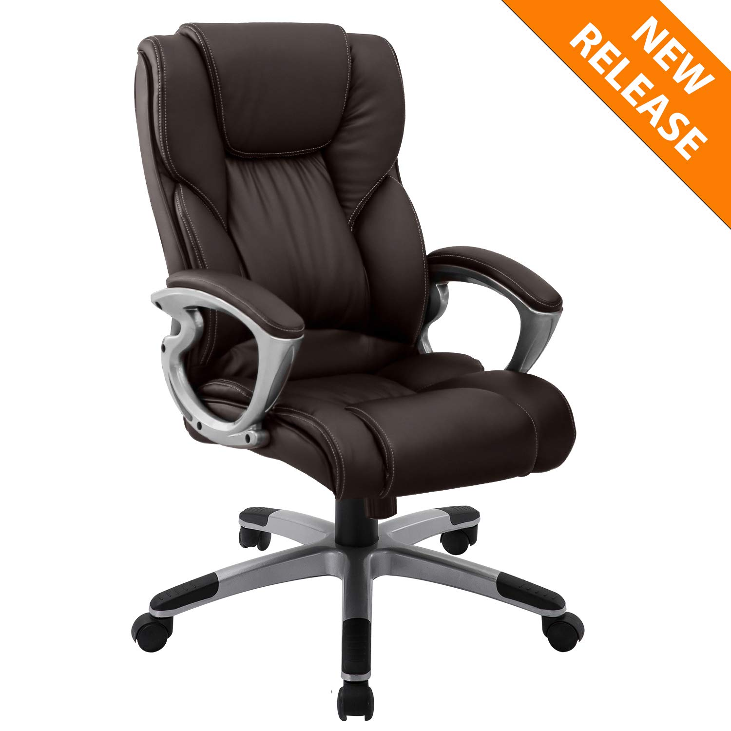 YAMASORO Leather Office Chair High Back Computer Gaming Desk Chair Executive Ergonomic Lumbar Support Brown