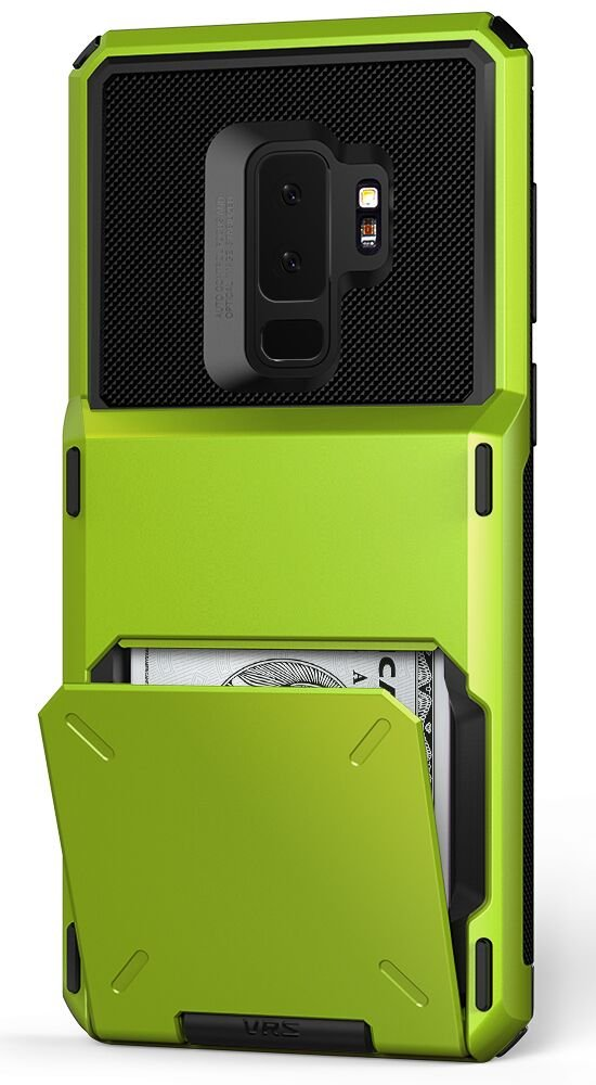 Galaxy S9 Plus Wallet Case :: VRS :: Full Body Protective Armor :: Hybrid Card Slot Holder :: ID Credit Card Travel Wallet for Samsung Galaxy S9 Plus (Damda Folder - Lime Green)
