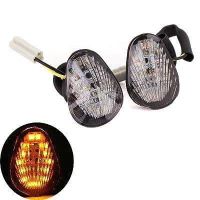 kemimoto 2 PCS LED Turn Signal Indicator Light Compatible with Yamaha FZ 07 FZ 09 FZ6R R1 R3 R6 MT07 MT09 2014 2015 2016 2020 TMAX Smoked Lens: Automotive