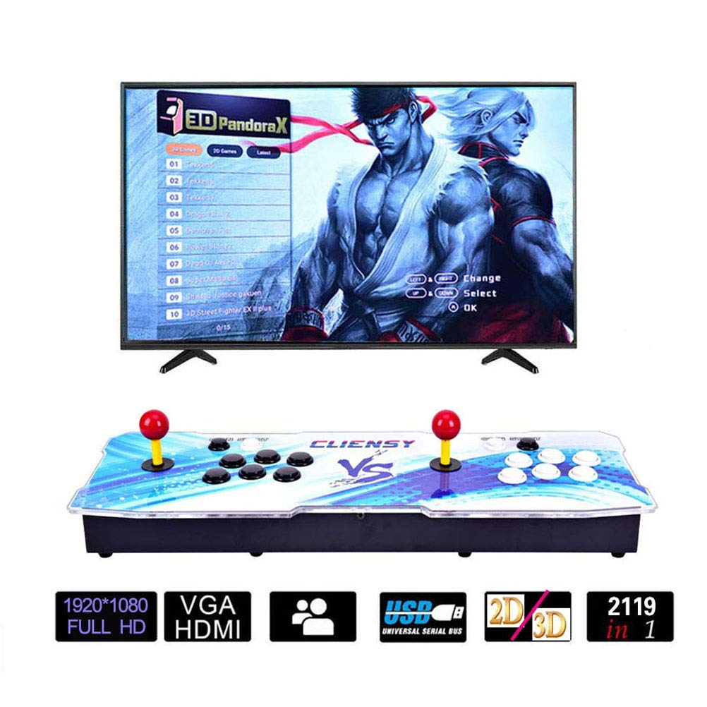 CLIENSY Arcade Video Game Console, 2119 in 1 Full HD 3D & 2D Games Pandora's Box 7 2 Players Retro Games Controls, Support HDMI/VGA/USB Output by CLIENSY (Image #1)