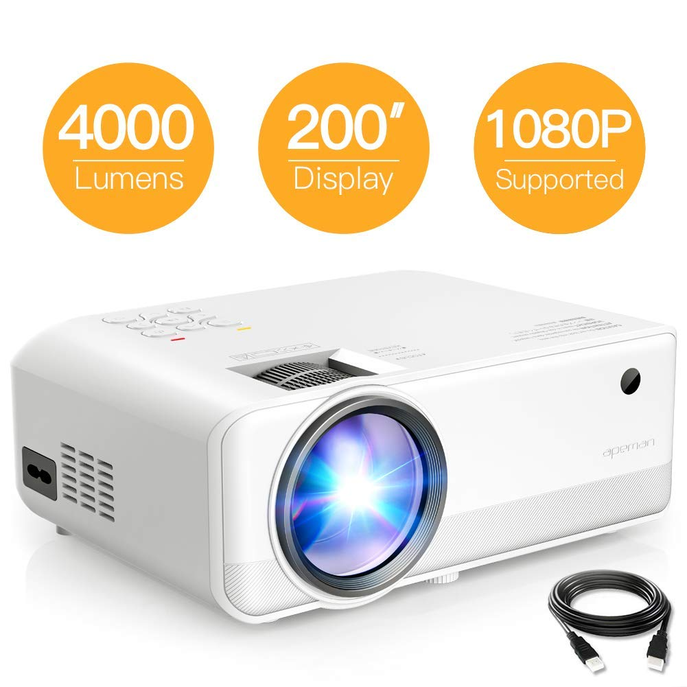 Projector APEMAN Mini Video Projector 4000 Lumen 1080p Supported LED Portable 50000 Hrs with Dual Built-in Speakers Support HDMI/TF/USB/RCA, Laptop/TV Stick/iOS/Android for Home Movie[2019 Model] by APEMAN