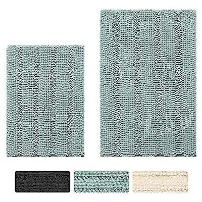 "Bathroom Rug Mat Set 2 Piece Green Bath Mats Set for Bathroom Sink Toilet Shower - Ultra Thick, Non Slip, Absorbent and Machine Washable Chenille Floor Mat Set (Green,30"" x 20"" Plus 17"" x 24"") - Soft chenille bathroom mats and rugs sets, plush and thick, relieve pressure and fatigue on your feet,provides a comfortably plush place to stand Non-slip green bathroom rug set of 2 with updated SBE/Hot melt spray backing, keeps the rug securely in place for added safety Bathroom mat set with highly absorbent plush tufts across the entire surface soak up water fast, dries quickly for supreme comfort - bathroom-linens, bathroom, bath-mats - 61hAZf%2Bn2EL. SS400  -"