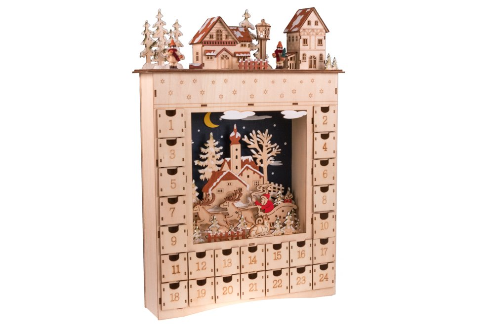 Clever Creations Village Advent Calendar From 24 Day Diorama Wooden Christmas Countdown Premium Holiday Décor Wood With Painted Details 100