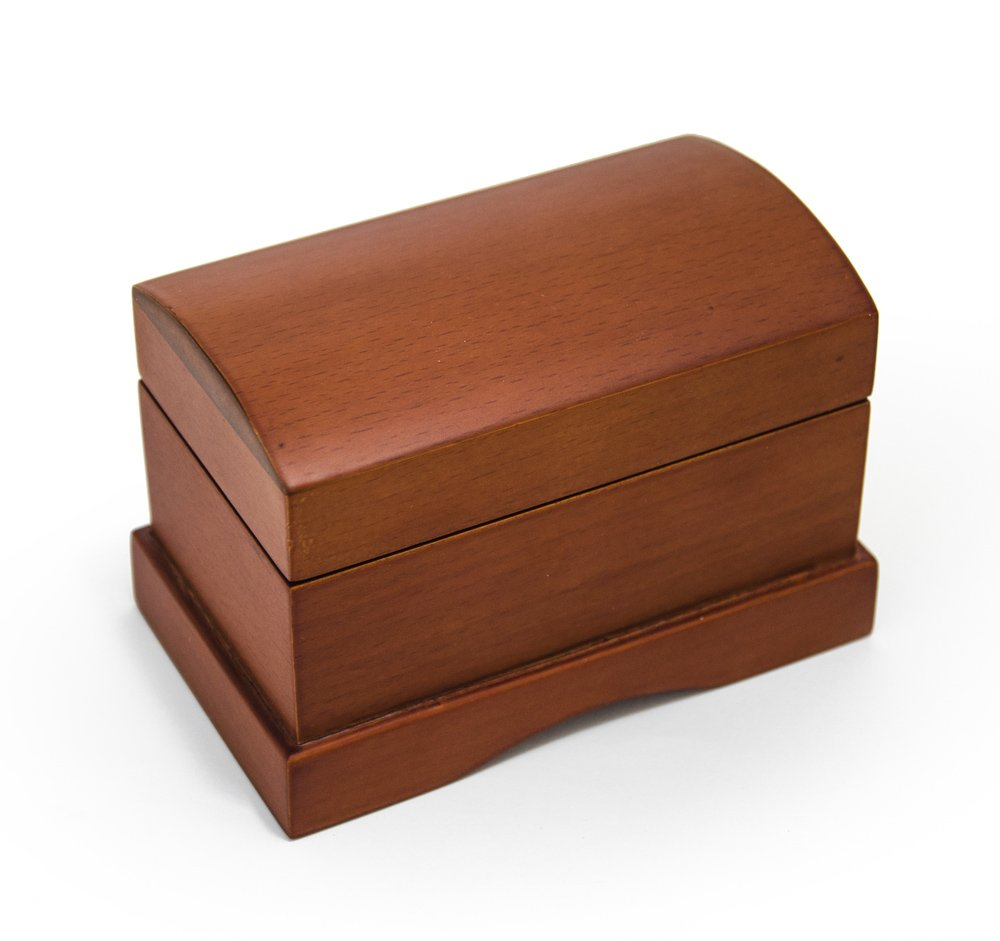 Matte Wood Tone Treasure Chest Simple 18 Note Music Ring Box - There is Love (Wedding Song) - SWISS (+$45)