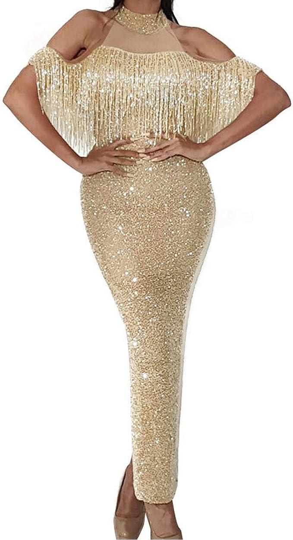 Partykleid Damen Glitzer Abendkleid Lang Schulterfrei Kleid Elegant  Ballkleid Prinzessin Brautjungfernkleider