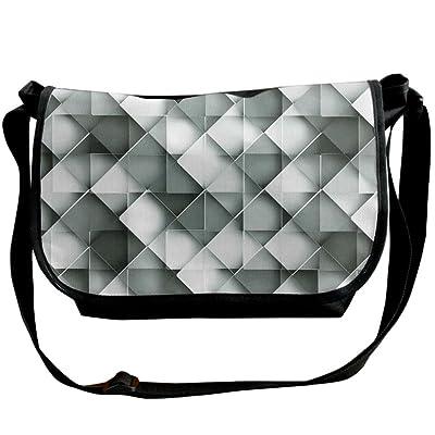 Lovebbag Geometric Design With Grey Ombre Colored Squares Print Crossbody Messenger Bag