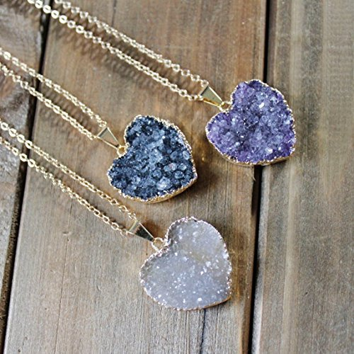 Heart Druzy Pendant Necklace/ Druzy Stone Necklace/ Delicate Druzy Gemstone Necklace Heart Stone/ Valentine Love Heart Gemstone White one size