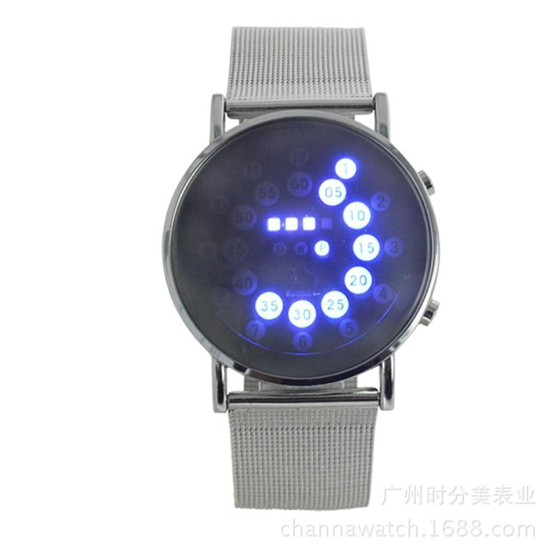 メンズ腕時計、Tomin LEDラウンドミラーブルー円ステンレススチールWatch B071HGM13B