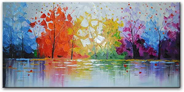 """EVERFUN ART Hand Painted Palette Knife Oil Painting Modern Abstract Wall Art Hanging Lake Scenery Landscape Canvas Picture Framed Ready to Hang 60"""" W X 30"""" H"""