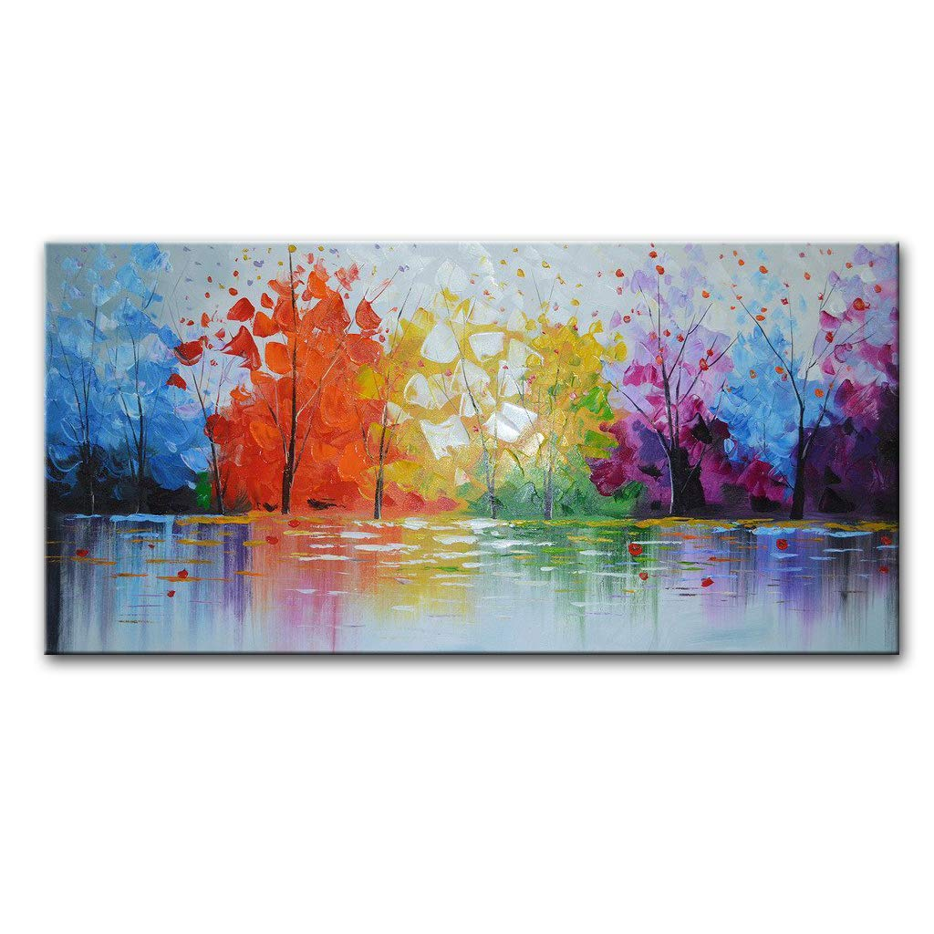 EVERFUN ART Hand Painted Palette Knife Oil Painting Modern Abstract Wall Art Haning Lake Scenery Landscape Canvas Picture Framed Ready to Hang 48'' W x 24'' H
