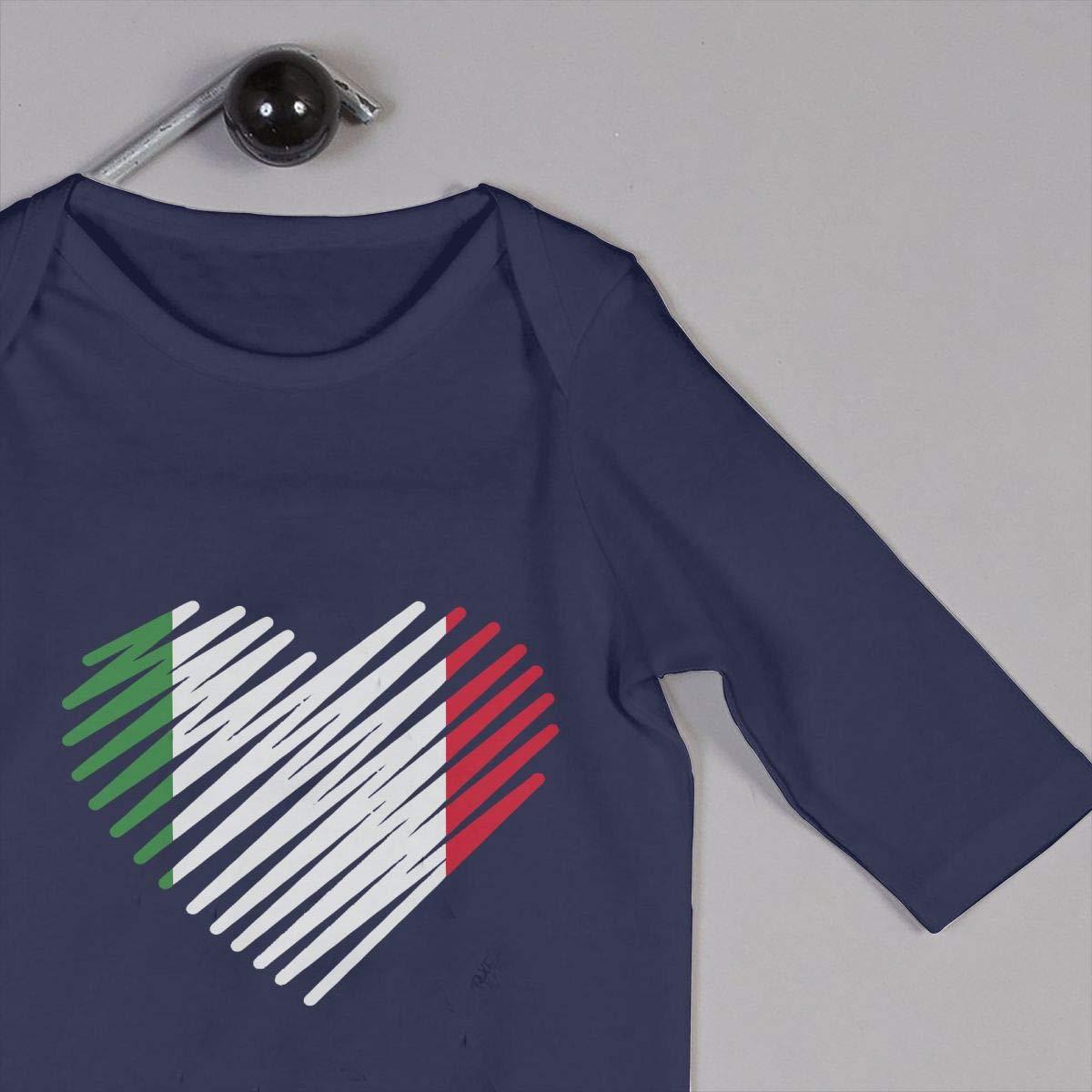 Baby Boys Round Collar Love Italy Heart Long Sleeve Pajamas Sleepwear 100/% Cotton Suit 6-24 Months