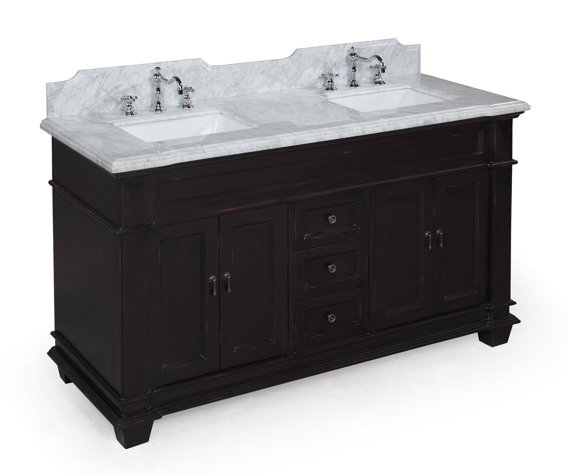 Elizabeth 60-inch Double Bathroom Vanity Carrara Espresso Includes Espresso Cabinet with Soft Close Drawers, Authentic Italian Carrara Marble Top, and Two Ceramic Sinks