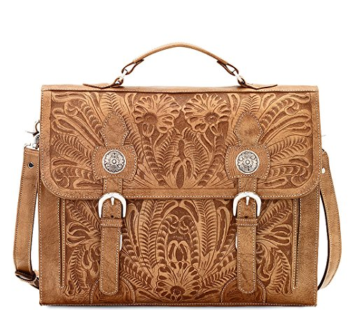 American West 100% Full Grain Leather, Laptop Briefcase Crossbody- Tan from American West