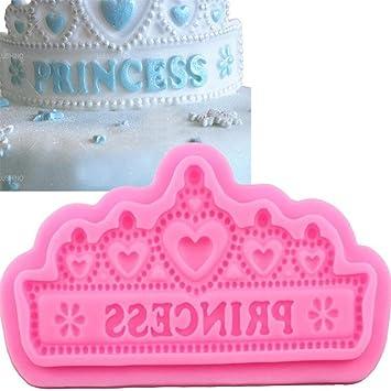 Princesa corona forma silicona moldes para tarta de Boda Pastel frontera fondant decoración de pasteles herramientas herramienta de cocina de cupcake ...