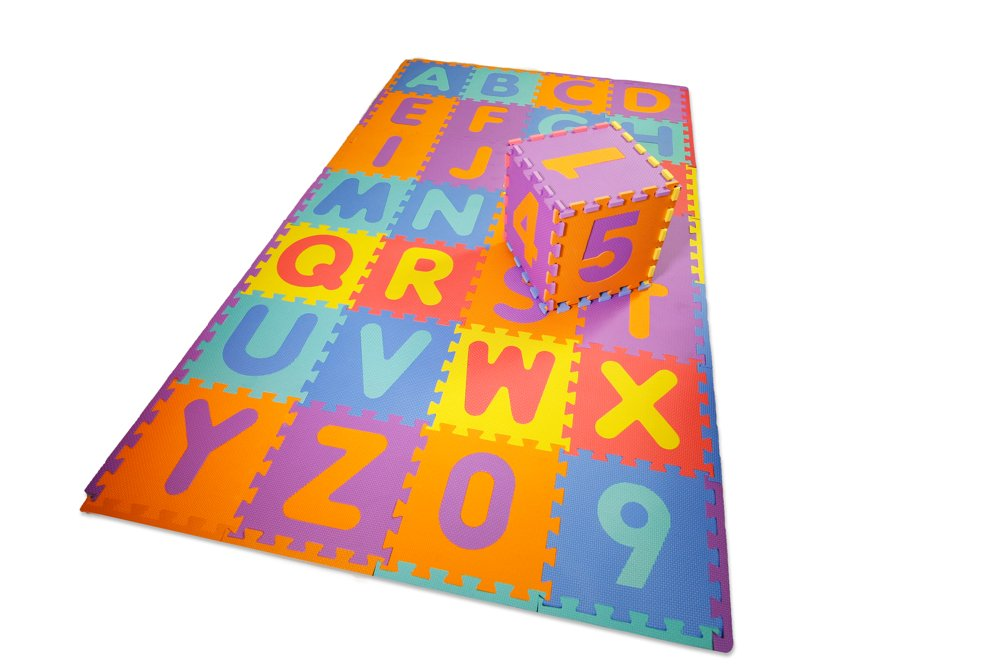 """Kids Foam Puzzle Play Mat ABC Alphabet With Numbers EVA Non-Toxic Large Size 36 Tiles with Edge Borders Included 12"""" by 12"""" by Sqish"""