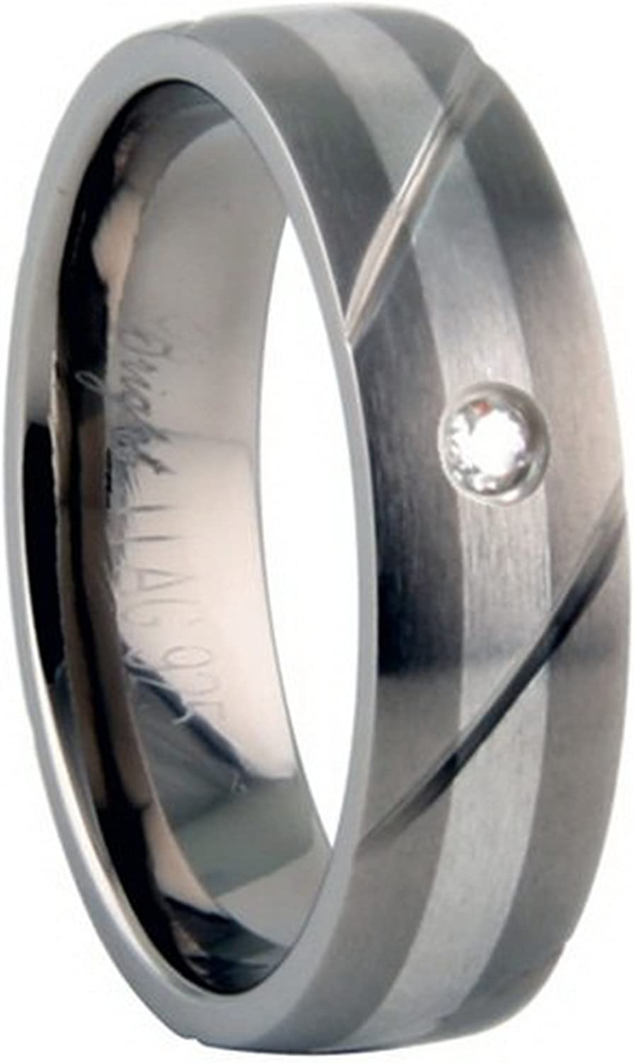 Width Titanium Ring with pure silver inlay and .04ct diamond 6mm Size 11