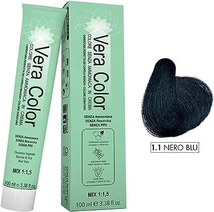 Vera Color - Coloración Permanente en Crema, Tinte Sin Amoníaco con Queratina Vegetal, Aloe Vera y Bayas de Goji - Cobertura Total de las Canas - Azul ...