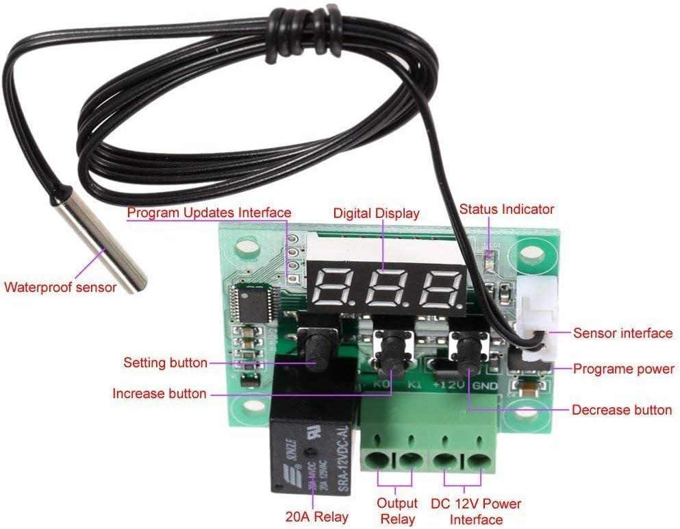 DollaTek 50 a 110 /° C W1209 DC 12V Mini Digital termostato de Control de Temperatura Controlador del Interruptor del m/ódulo del Sensor
