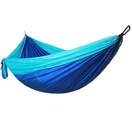 VORCOOL Portable Camping Single and Double Hammock Lightweight Portable Nylon Hammock with Parachute Nylon Ropes and Solid carabiners for Backpacking Camping Travel Beach (Blue)