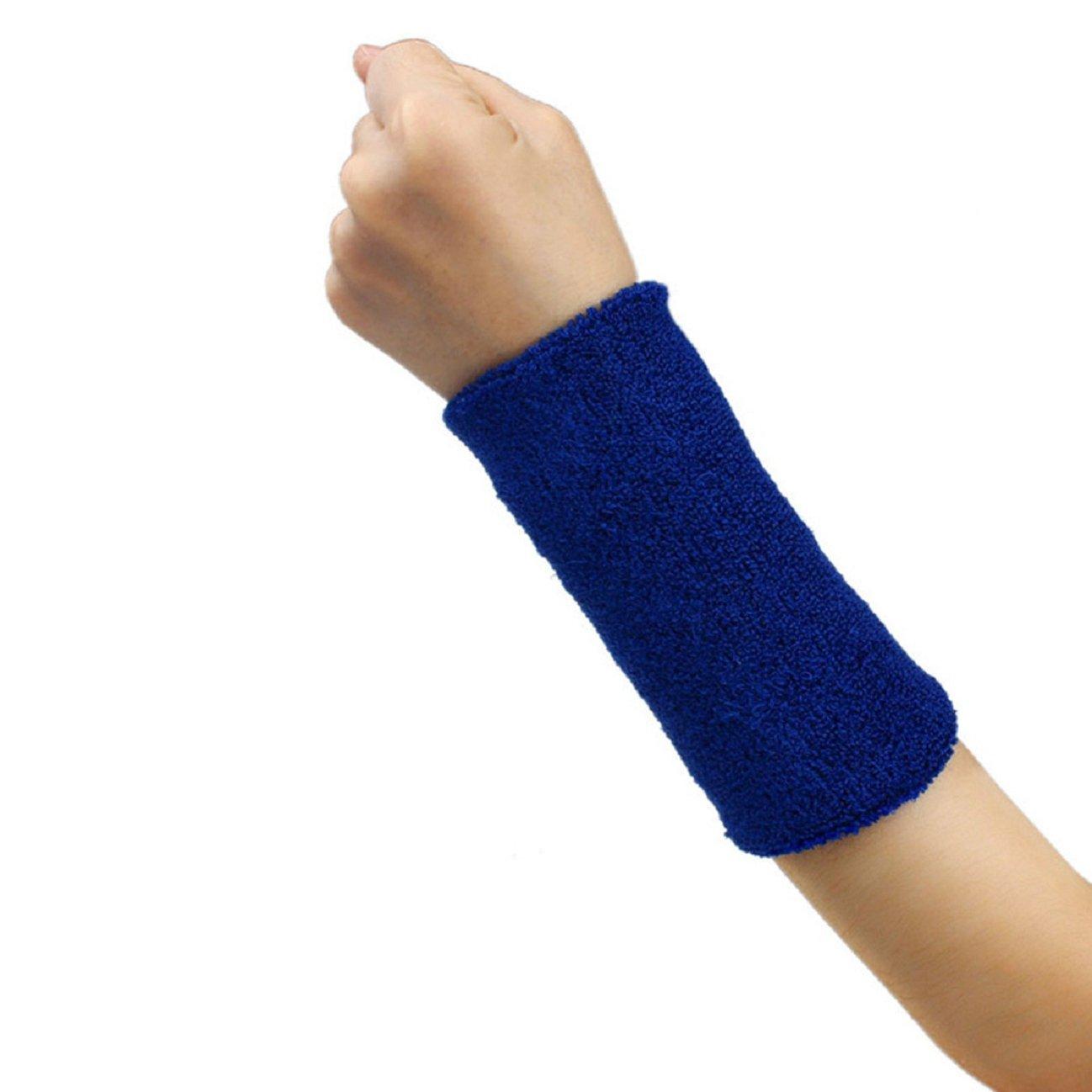 Tonsee 1 PCS Unisex Cotton Basketball Tennis Gym Yoga Sweatband Wristband (Blue)