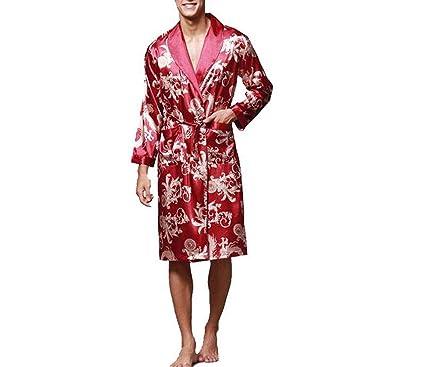 592c40989e Men Kimono Robes Long Sleeve Satin Dragon Silk Nightwear Bathrobes Loose  Casual Sleepwear